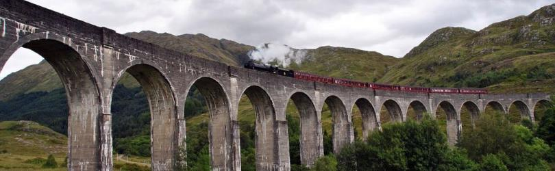 Glenfinnan Viaduct with Jacobite steam train